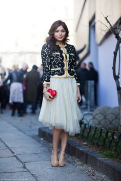 The outfit is beautifully lady-like, but it still has interesting touches.