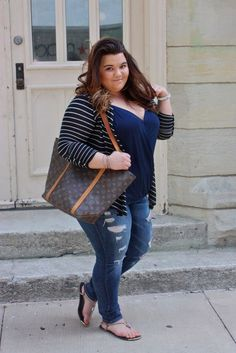 natalie craig, natalie in the city, chicago, curvy girls, fashionistas, fashion blogger, plus size fashion, plus size fashion blogger, ootd, outfit of the day, stripes, louis vuitton, destroyed denim