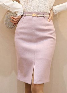 Styleonme : Front Slit Belted H-Line Skirt, Styleonme Classy Dress, Classy Outfits, Stylish Outfits, Denim Skirt Outfits, Midi Skirt Outfit, Work Fashion, Women's Fashion, Look Chic, Ladies Dress Design
