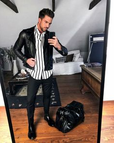 Leather Jacket Outfits, Denim Jacket Men, Stylish Mens Outfits, Casual Outfits, David Beckham Suit, Black Outfit Men, Chelsea Boots Outfit, Leather Jackets For Sale, Friday Outfit