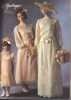 Alfred Angelo vintage designer fashion bride ad, designed by Michele Piccione from February 1983