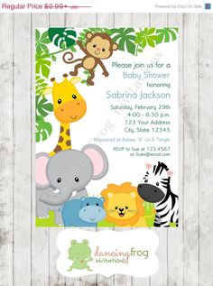Boy or Girl, Wild Animals, Jungle, Safari Baby Shower Invitations - Printed Jungle Safari Baby Shower Invitation by Dancing Frog Invitations Safari Party, Festa Safari Baby, Jungle Safari, Jungle Fest, Safari Food, Baby Shower Invitations For Boys, Baby Shower Themes, Baby Boy Shower, Birthday Invitations