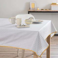 Nappe enduite en coton grise/jaune 140 x 180 cm PORTIMAO