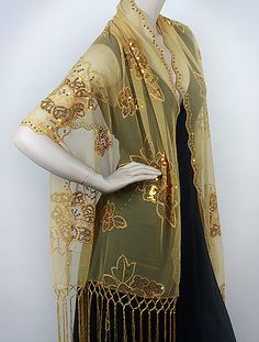 Gold evening wrap must have on sale - women love embellished dressy evening wraps.