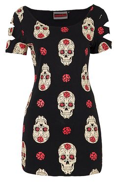 Jawbreaker Day Of The Dead Skull T-Shirt Dress | Gothic Clothing | Emo clothing | Alternative clothing | Punk clothing - Chaotic Clothing