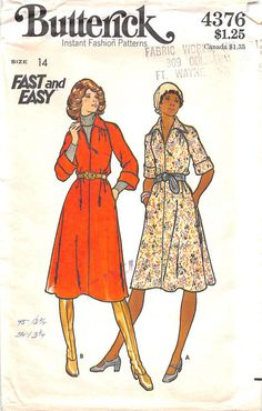 Loose fitting A-line dress in two lengths, gathered at front into raglan sleeves, has pointed collar, front neckline slit, pockets in side seams, topstitch trim, and elbow length or seven-eighths leng