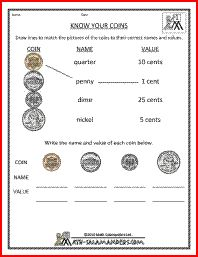 "Free Math Money Worksheets  Counting Same Value Coins - for Amelie    ""Math Salamanders"