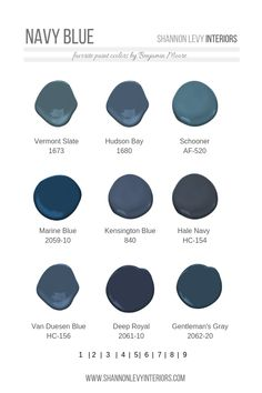 NAVY BLUE PAINT- just can not get enough of these blue hues. Dark blue is a versatile color that elicits a grounded and calming sense in an interior space. These are some of my favorite blue paint by Benjamin Moore. These work well on an accent wall, on Bedroom Paint Colors, Paint Colors For Home, House Colors, Paint Colours, Paint Colors For Office, Calming Paint Colors, Best Blue Paint Colors, Best Bathroom Paint Colors, Bright Colors