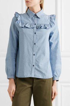 A.P.C. Atelier de Production et de Création - Memphis Ruffled Cotton-chambray Shirt - Light blue - FR