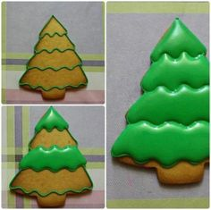 Frosted Christmas Tree, Christmas Tree Cookies, Iced Cookies, Christmas Sweets, Christmas Cooking, Noel Christmas, Holiday Cookies, Cupcake Cookies, Cookies Et Biscuits