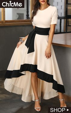 Short Sleeve Colorblock Insert Dip Hem Dress is part of Short nails Ideas Sns - Short nails Ideas Sns Stylish Dress Designs, Stylish Dresses, Elegant Dresses, Pretty Dresses, Sexy Dresses, Beautiful Dresses, Dress Outfits, Evening Dresses, Casual Dresses