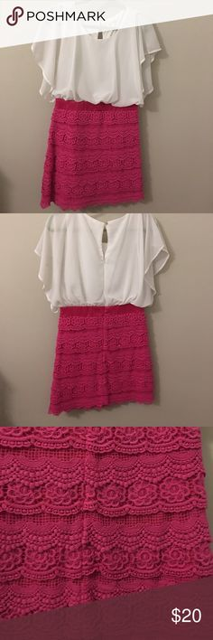 Francesca's pink and white dress size medium NWOT purchased at Francesca's, brand miami Dresses