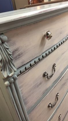 Coastal inspired dresser painted in Annie Sloan Duck Egg and Old white.