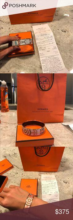 Hermes rose gold enamel bracelet Hermes rose gold plated printed enamel bracelet. Perfect condition, never worn. Have original receipt. Hermes Jewelry Bracelets