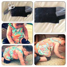 Homemade crawling knee protection. Rodilleras caseras para gateo