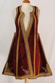 'Pirpiri'-like sleeveless overcoat.  Also named 'katifes'.  Late-Ottoman style, 19th century.  From Magnesia (Thessaly, Central-Greece).  Adorned with goldwork (metal thread) embroidery, golden braid and cordage on silk velvet.
