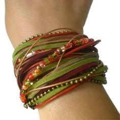 bracelet en cuir wrap de Boho ruban cuir daim perles par jcudesigns
