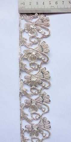 Silver Handmade Trim floral with cut work
