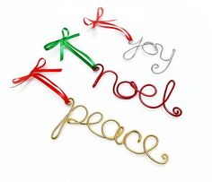 Joy, Noel, Peace Wire Word Ornaments- Set of Three- Red, Gold, Silver, Green