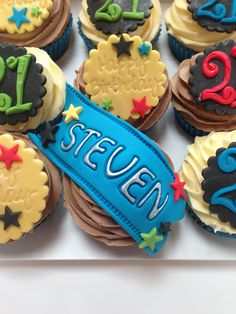 Name scroll 21st Birthday Cupcakes, Party, Desserts, Food, Tailgate Desserts, Deserts, Essen, Parties, Postres