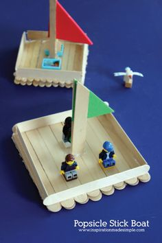 Popsicle Stick Boat Kids Craft is part of Kids Crafts Popsicle Sticks - Help your child build a popsicle stick boat that can float! The perfect size for Legos and other small toys Simple and easy to build! Popsicle Stick Boat, Popsicle Stick Crafts For Kids, Crafts For Kids To Make, Easy Diy Crafts, Craft Stick Crafts, Easy Crafts, Craft Stick Projects, Craft Sticks, Simple Kids Crafts