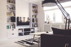 Aranżacja salonu w bieli i czerni