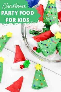 We have a great list of delicious and easy to prepare Christmas Party Food Ideas for your Kids party. Check the list and pick your favorite recipe. #christmas #foodideas #kidsfood #christmastreats #desserts #christmasfoodideas #easyrecipe Christmas Recipes For Kids, Edible Christmas Gifts, Christmas Side Dishes, Simple Christmas, Christmas Treats, Kids Christmas, Chocolate Candy Melts, Red Chocolate, Chrismas Party Food