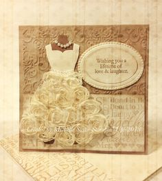 "A vintage bridal card - Created using Stampin' Up! 5/8"" Flower Trim and the Dress Up Framelits.   #Michelle Suit  #suitablystamped  #diy  #wedding  #bride"