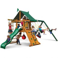 Kids stay engaged and active with the swings, trapeze bar, oversized rock wall, rope ladder, and punching ball. Gorilla Playsets leads the industry in safety too. Ready to be assembled in your backyard over the weekendÂ. Backyard Playset, Backyard Playground, Playground Set, Outdoor Playset, Outdoor Playhouses, Backyard Gym, Backyard Retreat, Outdoor Toys, Outdoor Fun