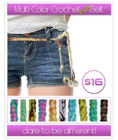 hand crochet multi colored belts, 57  inches in length. Fits all waist sizes,  lots of fun to wear. Dare to be different!