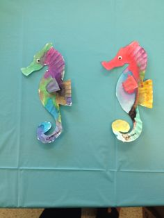 Seahorses made from paper plates. Sea life in the Gulf of Mexico. & Seahorse Paper Plate Craft w/template | Pinterest | Paper plate ...