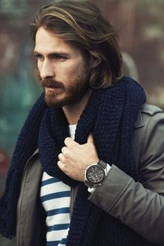 hair. beard. watch. scarf.