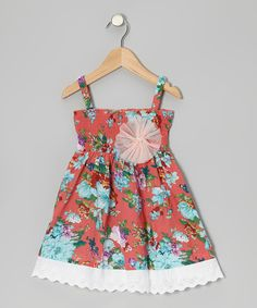 Take a look at this Orange Floral Lace-Trim Shirred Dress - Toddler & Girls on zulily today!