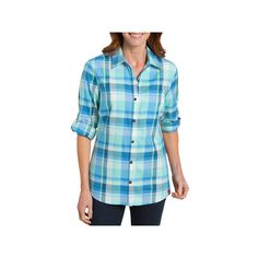 Plus Size Dickies Plaid Button-Down Shirt, Women's, Size: 3XL, Red Blue