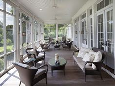Amazing sunroom ideas on a budget. Learn how to build and decorate an affordable small sun porch design ideas or screened in porch / patio decor. Traditional Porch, Enclosed Patio, Building A Porch, Patio Wall, Patio Flooring, Transom Windows, Patio Makeover, House With Porch, Screened In Porch