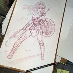 Starting off the day with a #sketch of Gadot's #wonderwoman Pretty sure she'll be my favorite part of Batman vs Superman by scotlandbarnes