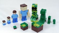 Build LEGO Minecraft Creeper, Steve, and Grass Block in 3 sizes