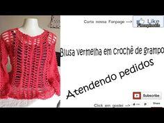 Blusa vermelha de crochê de grampo - YouTube