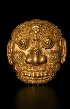 "Gold Mask - DA.700  Circa: 13 th Century AD to 16 th Century AD  Dimensions: 6.5"" (16.5cm) high  Collection: Asian Art  Medium: Gold  Condition: Fine"