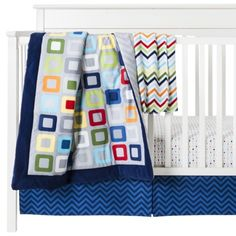 This would be so perfect with the colors the room is already painted in!!!!!  Circo® Geo Boy 4pc Crib Bedding Set