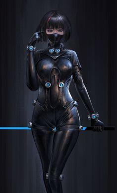 f Rogue Assassin Leather Armor Sword Mask Underdark undercity urban City ArtStation 19 Yang Hong Anime Art Girl, Anime Girls, Yatogami Noragami, Character Art, Character Design, Cyberpunk Girl, Cyberpunk Anime, Mädchen In Bikinis, Sci Fi Characters