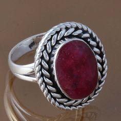 SOLID 925 STERLING SILVER RUBY GEMSTONE RING 6.71g DJR8338 SZ-7.75 #Handmade #Ring