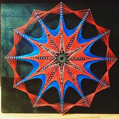 Psychedelic 12 pointed star string art. December 2015