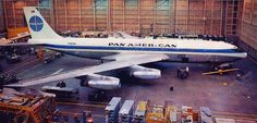 "Pan American World Airways Boeing 707-121 N707PA ""Clipper Maria"" undergoing final touches at Boeing's Renton factory in 1958. It was delivered to the airline in December of that year."