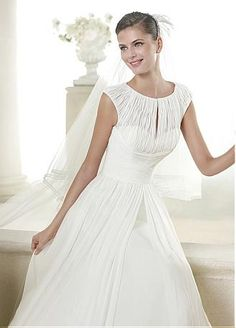 Buy discount Elegant Chiffon Jewel Neckline Natural Waistline A-line Wedding Dress at Dressilyme.com