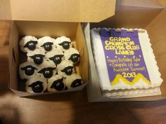 purple Banner cakes , and sheep cupcakes done by Heavenly Confection