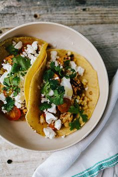 Harvest Tacos (cauliflower, corn, cherry tomatoes,  feta) | The Year in Food