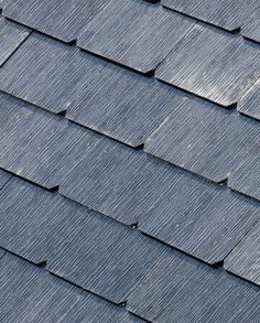 Textured Glass - these roofing tiles are able to provide solar power to your house. by Tesla