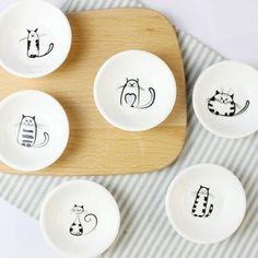 Meow Meow Porcelain Saucer Set
