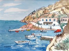 Hydra 4 Greece art print from an original watercolor by AndreVoyy